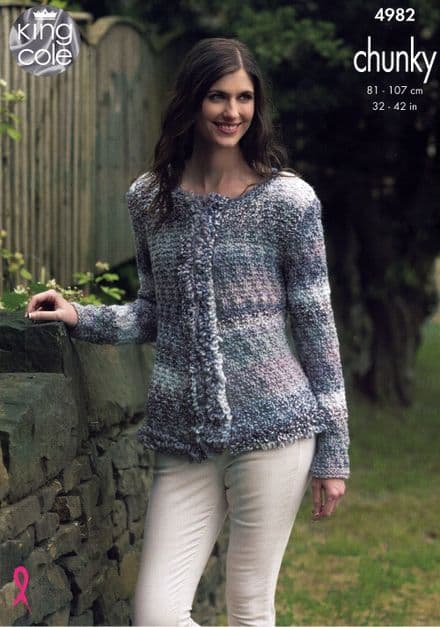King Cole Ladies Cardigans Knitting Pattern in Cotswold Chunky (4982)