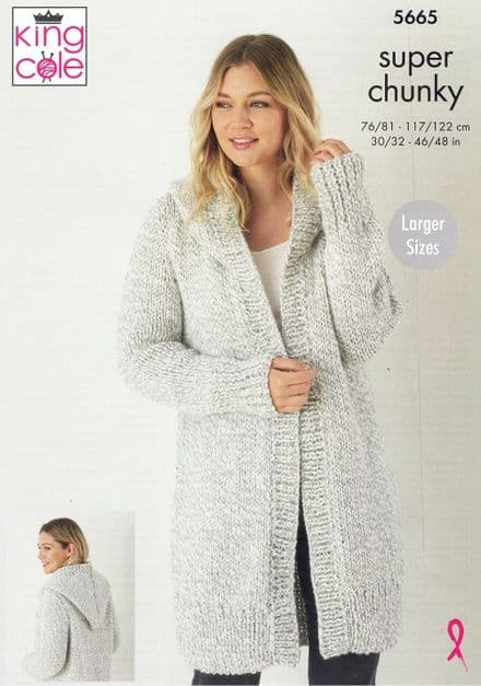 King Cole Ladies Jackets  Knitting Pattern in Timeless (Classic) Super Chunky (5665)