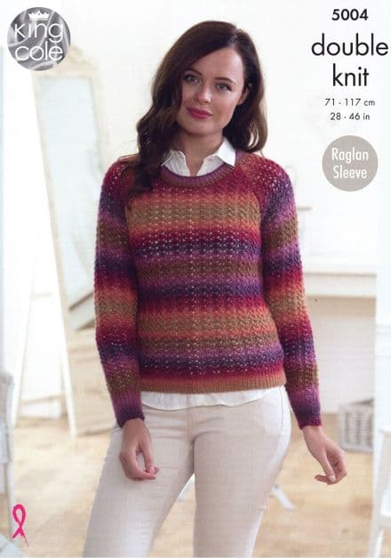 King Cole Ladies Round & V-neck Sweaters Knitting Pattern in Riot DK (5004)