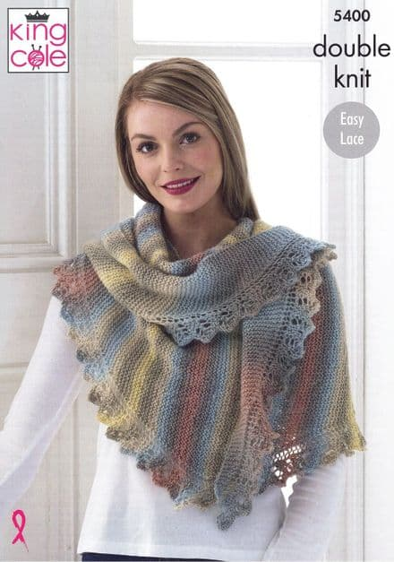 King Cole Ladies Shawl, Cowl & Hat Knitting Pattern in Riot DK (5400)