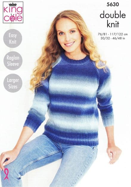 King Cole Ladies Sweater & Accessories Knitting Pattern in Riot DK (5630)