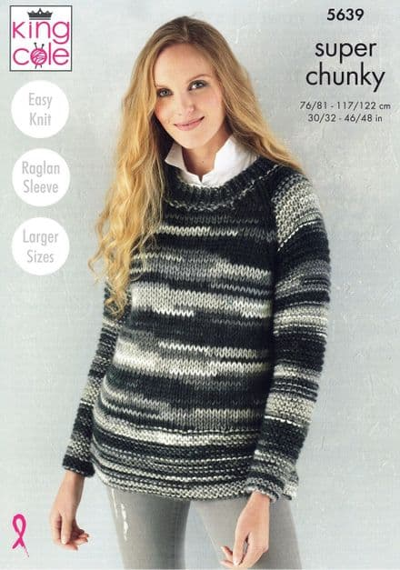King Cole Ladies Sweater, Cowl & Hat Knitting Pattern in Quartz Super Chunky (5639)
