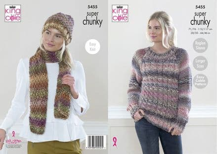 King Cole Ladies Sweater, Hat & Scarf Knitting Pattern in Explorer Super Chunky (5455)