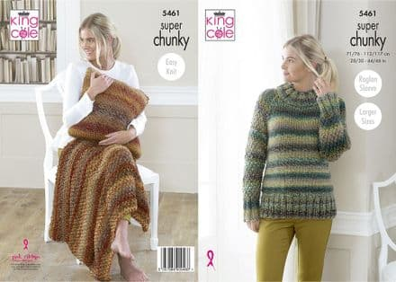 King Cole Ladies Sweater, Throw & Cushion Knitting Pattern in Explorer Super Chunky (5461)