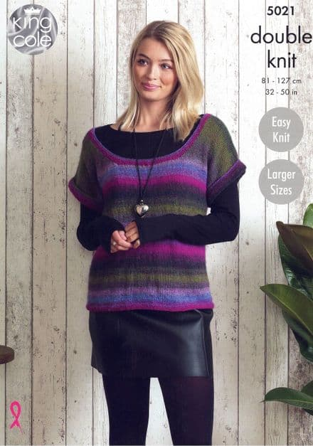 King Cole Ladies Tunic & Top Knitting Pattern in Sprite DK (5021)