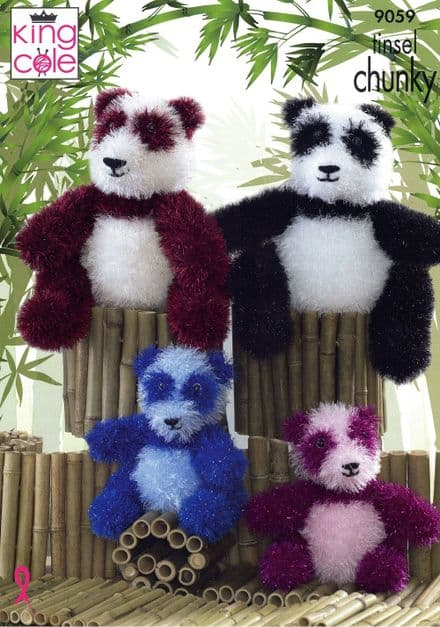 King Cole Panda Toys Knitting Pattern in Tinsel Chunky (9059)
