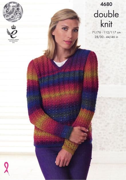 King Cole Sweater & Cardigan Knitting Pattern in Riot DK (4680)