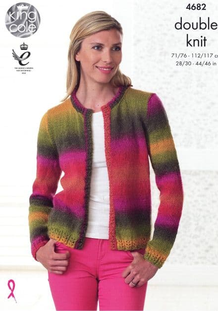 King Cole Sweater & Edge to Edge Jacket Knitting Pattern in Riot DK (4682)