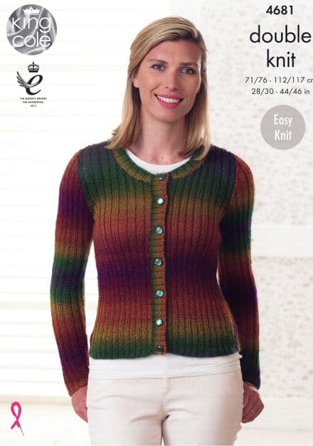 King Cole Sweater & Ribbed Cardigan Knitting Pattern in Riot DK (4681)