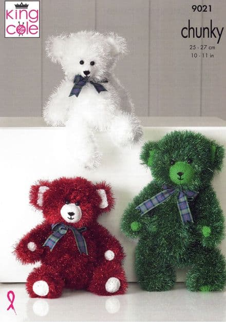 King Cole Teddies Knitting Pattern in Tinsel Chunky (9021)