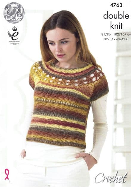 King Cole Top with Yoke & Accessories Crochet Pattern in Riot DK (4763)