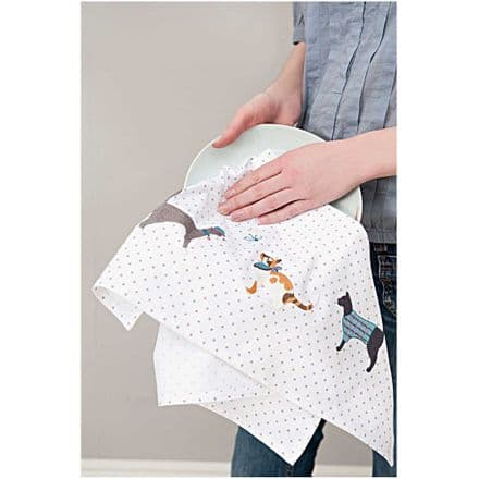 Rico 3 Cats Tea Towel Embroidery Kit