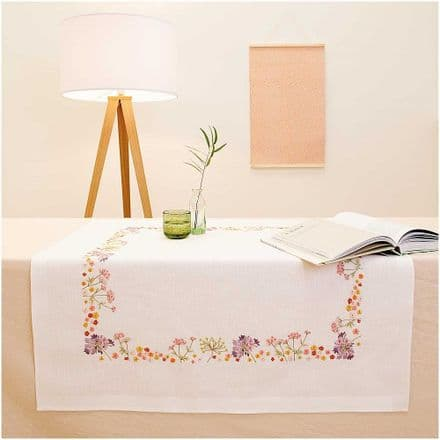 Rico Autumn Flowers Kit Table Cloth Embroidery Kit