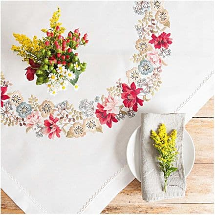 Rico Autumn Flowers Table Cloth Embroidery Kit