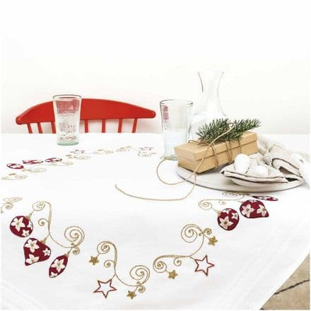 Rico Christmas Baubles Table Cloth Embroidery Kit