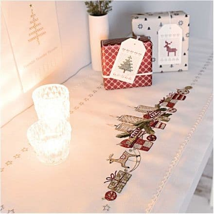 Rico Christmas Candle Arrangement Table Runner Embroidery Kit