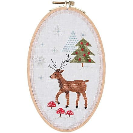Rico Christmas Deer Cross Stitch/Embroidery Kit