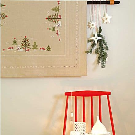 Rico Christmas Fir & Hare Table Cloth Embroidery/Cross Stitch Kit