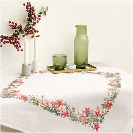 Rico Christmas Flowers Table Cloth Embroidery Kit