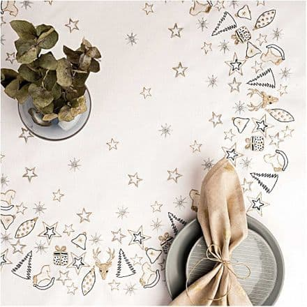 Rico Christmas Gold Wreath Table Cloth Embroidery Kit