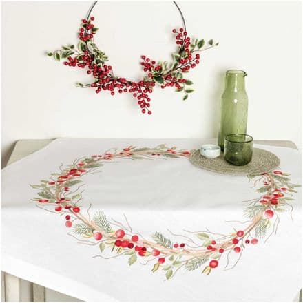 Rico Christmas Haws kit Table Cloth Embroidery Kit