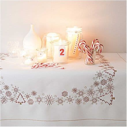 Rico Christmas Ice Crystals Table Cloth Embroidery Kit