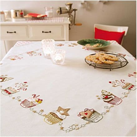 Rico Christmas Muffins Table Cloth Embroidery Kit