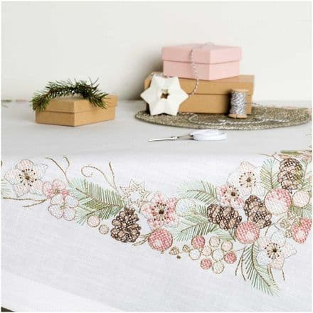 Rico Christmas Rose Kit Table Cloth Embroidery Kit