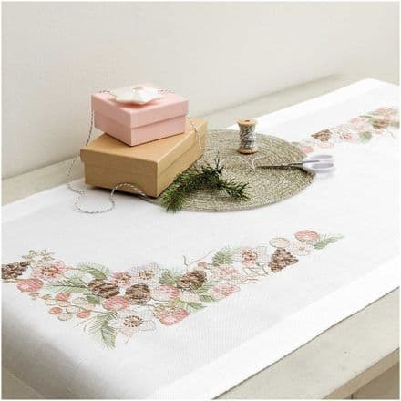 Rico Christmas Rose kit Table Runner Embroidery Kit