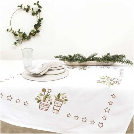 Rico Christmas Rose Table Cloth Embroidery Kit