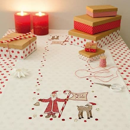 Rico Christmas Santa Claus Table Runner Embroidery Kit