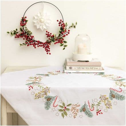 Rico Christmas Wreath kit Table Cloth Embroidery Kit