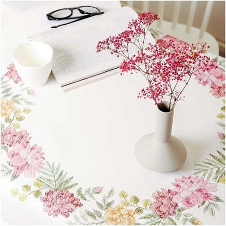 Rico Chrysanthemum Table Cloth Embroidery Kit