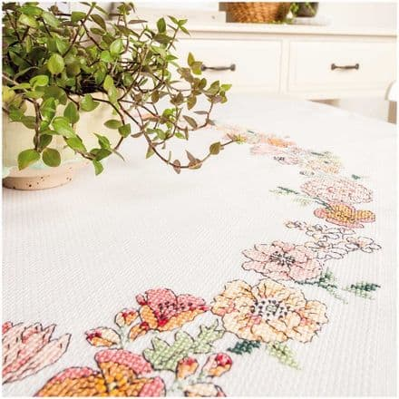Rico Flower Wreath Table Cloth Embroidery/Cross Stitch Kit