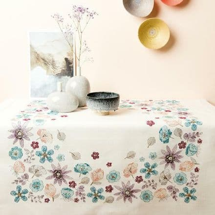 Rico Flowers Kit Table Cloth Embroidery Kit