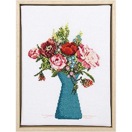 Rico Peony Picture Cross Stitch/Embroidery Kit
