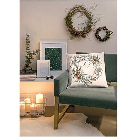 Rico Wreath with Cones Cushion Embroidery/Cross Stitch Kit