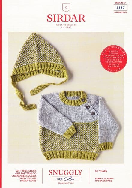 Sirdar Babies Jumper and Hat Knitting Pattern in Snuggly 100% Cotton DK (5380)