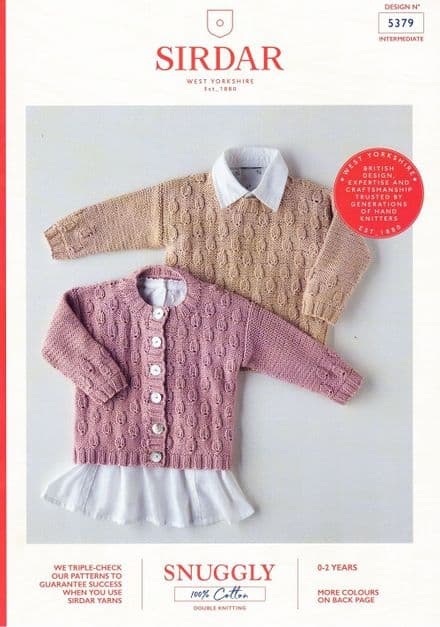 Sirdar Babies Jumper & Cardigan Knitting Pattern in Snuggly 100% Cotton DK (5379)