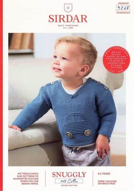 Sirdar Babies Jumper Knitting Pattern in Snuggly 100% Cotton DK (5268)