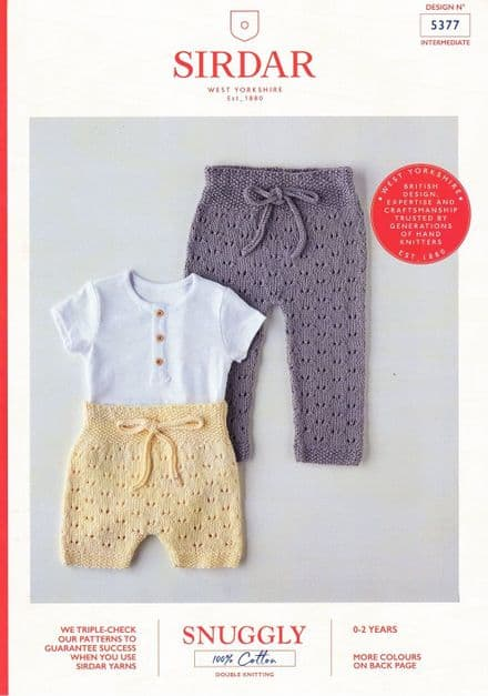 Sirdar Babies Trousers Knitting Pattern in Snuggly 100% Cotton DK (5377)