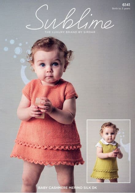 Sublime Dress & Pinafore Knitting Pattern in Baby Cashmere Merino Silk DK (6141)