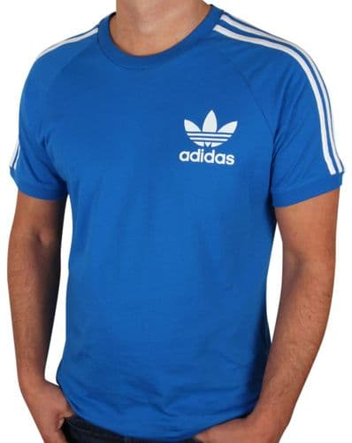 Adidas Originals Men's Crew Neck Retro Trefoil Casual T Shirt Tee Blue