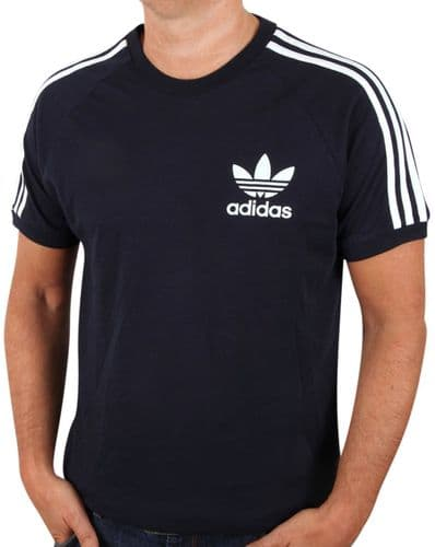 Adidas Originals Men's Crew Neck Retro Trefoil Casual T Shirt Tee Navy