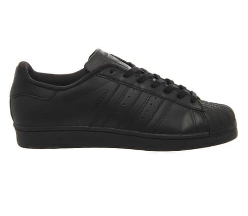 Adidas Originals Men's Superstar 2 All Black Stripe Leather Retro Trainers