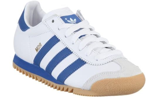Adidas Rom Limited Edition White Blue Retro Leather Gum Sole Trainers