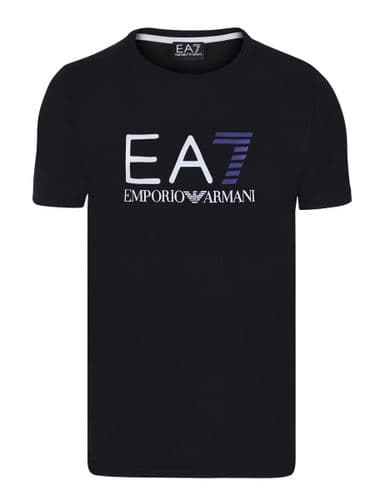 Armani Jeans Original EA7 Fitted Mens T Shirt Short Sleeve Black Crew Neck