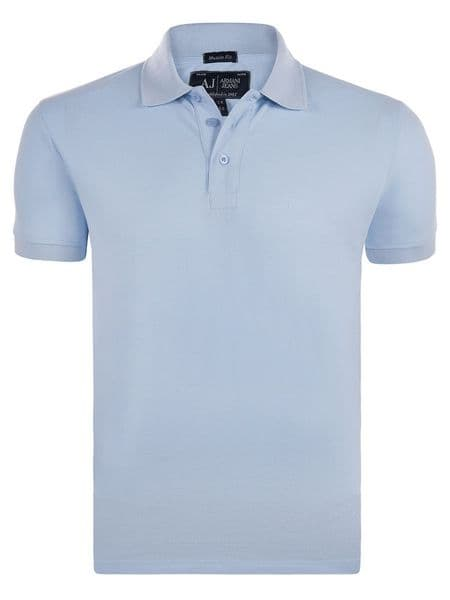 ARMANI Jeans Original Muscle Fit Men Polo Shirt Short Sleeve Sky Blue