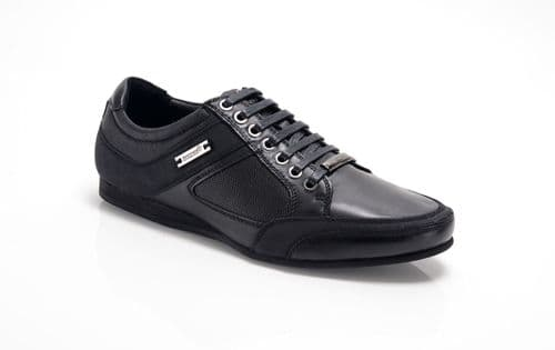 Bambooa Phoenix Black Leather Mens Designer Casual Shoes Trainers