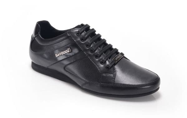 Bambooa Trento Black Leather Mens Designer Casual Shoes Trainers